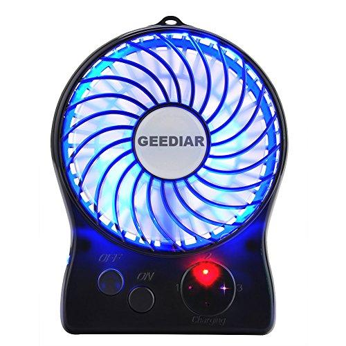Portable Mini USB Fan GEEDIAR 3 Speed Control Rechargeable T