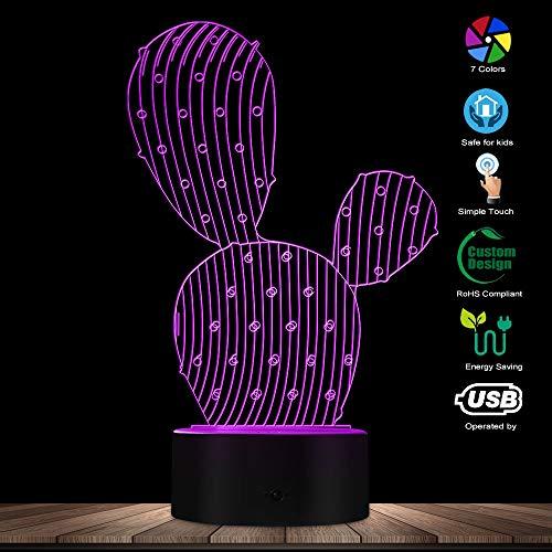 3D Cactus Shape Designed Lamp 3D Illusion Night Light Desert Plant Contemporary LED Lamp Home Decor Table Lamp ()