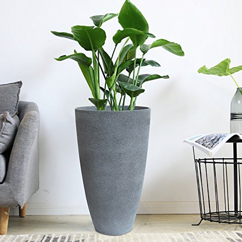 Tall Planters Set 2 Flower Pots, 20'' Each, Patio Deck Indoor Outdoor Garden Resin Planters, Gray by LA JOLIE MUSE (Image #3)