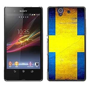 - Sweden flag - - Monedero pared Design Premium cuero del tir¨®n magn¨¦tico delgado del caso de la cubierta pata de ca FOR Sony Xperia Z L36H L36I C6603 Xperia Z Funny House