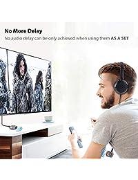 Baja latencia transmisor bluetooth adaptador de audio splitter para TV con aptX, Inalámbrico, el apoyo Dos altavoces bluetooth auriculares o simultáneamente