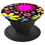 Vintage Retro Funky Black Pink Yellow Flowers Daisy - PopSockets Grip and Stand for Phones and Tablets