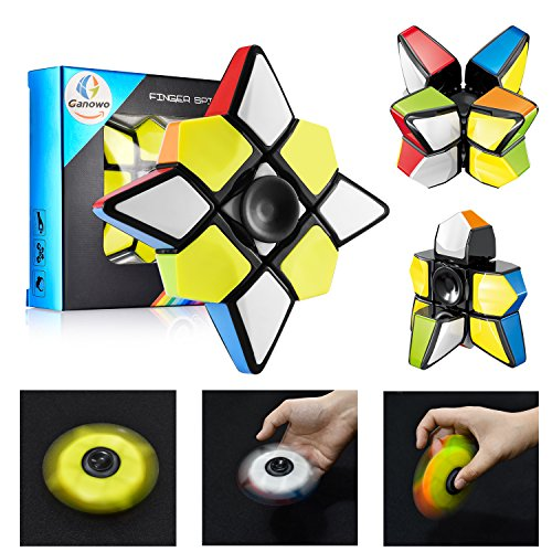 (Ganowo Fidget Toy Spinner Cube, Brain Teasers Magic Puzzle Spinners Cubes Smart Ninja Toys Gifts for Boys Girls Smooth Cube Stickerless 1x3x3)