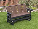 4FT-CEDAR-POLY LUMBER ROLL BACK Porch GLIDER with Cupholder arms Heavy Duty EVERLASTING PolyTuf HDPE - MADE IN USA - AMISH CRAFTED