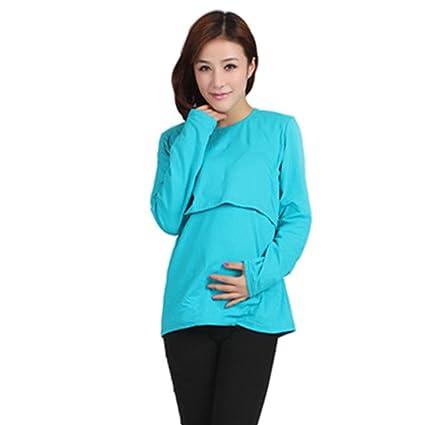 Koly Ropa de maternidad embarazada lactancia camiseta de manga larga lactancia tapas (L, Azul