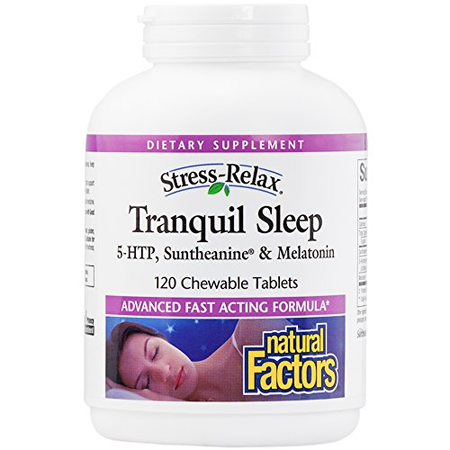 Natural Factors - Stress-Relax Tranquil Sleep, 5-HTP, Suntheanine & Melatonin, 120 Chewable Tablets by Natural Factors