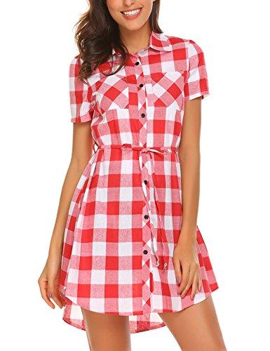Hotouch Womens Basic Plaid Shirt Dress for Leggings Short Sleeve Casual(Red&White,S) (Gingham White Red Dress)