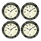 zwan 15 Inch Faux Stone 3 in 1 Clock, Thermometer, and Hygrometer (4 Pack) with Ebook