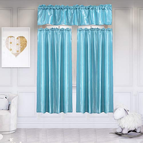 Emptystar Curtains for Bedroom - 3Pcs Pure Color Window Curtains Kitchen Home Polyester Curtain Washable with Swag Tier Window Curtain Set for Living Room (G)