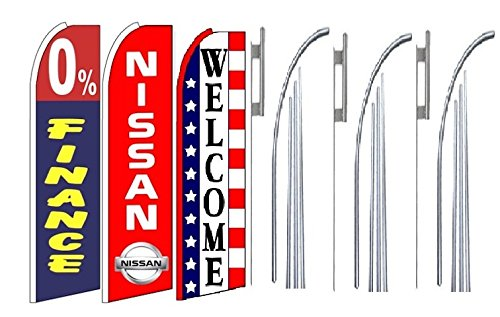 0 Finance Nissan Welcome King Swooper Feather Flag Sign Kit With Pole And Ground Spike  Pack Of 3