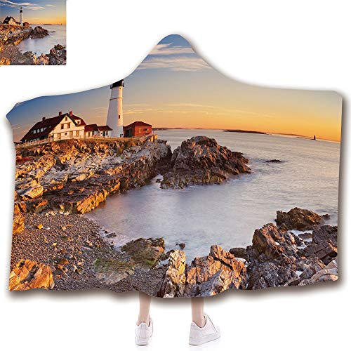 Fashion Blanket Ancient China Decorations Blanket Wearable Hooded Blanket,Unisex Swaddle Blankets for Babies Newborn by,Maine River Portland Lighthouse Sunrise USA Coast,Adult Style Children Style