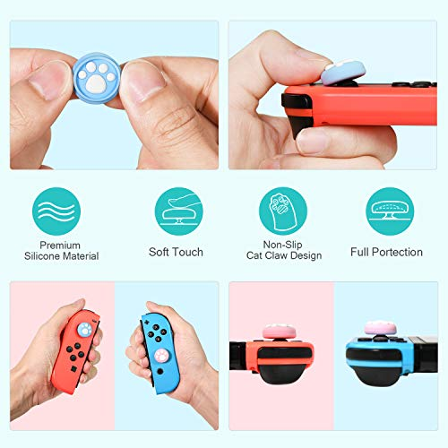 [10 Pack] iVoler Cat Paw Design Thumb Grip Caps, Joystick Cap for Nintendo Switch & Lite, Soft Silicone Cover for Joy-Con Controller (Pink&Blue&Yellow&Turquoise&Black Claw)