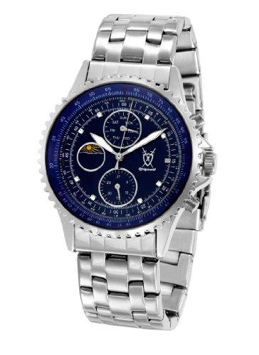 Konigswerk Mens Silver Tone Stainless Steel Bracelet Watch Multifunction Blue Dial SQ201450G