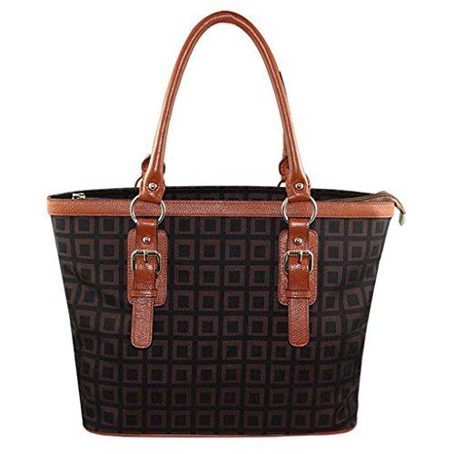 Women Leather Joint Canvas Damier Ebene Canvas Never full Handbag (Damier Handbag Canvas)