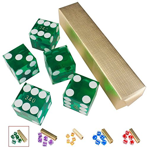 GSE Games & Sports Expert Set of 5 Poker Craps 19mm Serialized Casino Dice (Green) ()