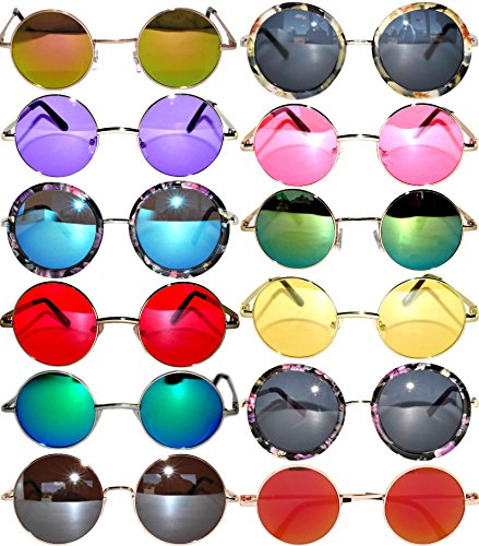Round Retro Hipster Vintage Circle Style Tint Sunglasses Metal Colored Frame Colored Lens OWL - Wholesale Sunglasses Brand
