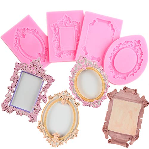 Mujiang Baroque Style Fondant Molds Curlicues Scroll Lace Photo Frame Silicone Molds Sugarcraft Cake Border Decoration Molds(3pcs)