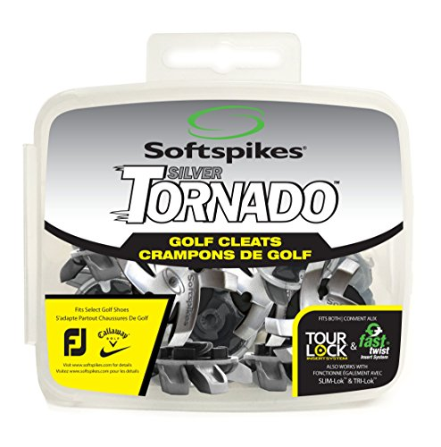 (SOFTSPIKES Tornado Golf Tour Lock Cleats, Silver)
