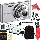 Sony DSC-W830 Cyber-shot 20.1MP 2.7-Inch LCD Digital Camera (Silver) + SDHC Memory Dual Battery Kit + DigitalAndMore Accessory Bundle (64GB)