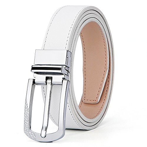 XIANGUO Women's Reversible Belt - Premium Quality Genuine Leather with Alloy - White Crocodile Belt