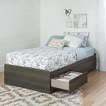 "South Shore Savannah 39"" Mates Bed with 3-Drawers, Twin, Gray Maple"