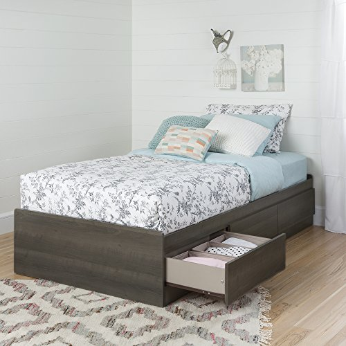 Twin Mates Gray Maple Bed 39'', 3 Drawers, Laminated Particle Board, Wooden Knobs, Rounded Corners, Reversible, Metal Drawer Slides, Bundle with Our Expert Guide with Tips for Home Arrangement