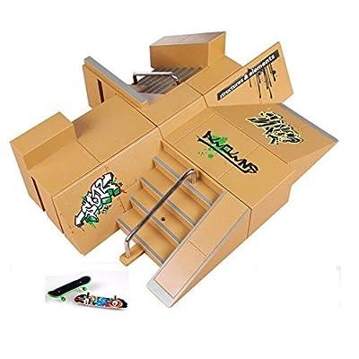 Youvinson 8pcs Skate Park Pièces Rampe pour Tech Deck Fingerboard Finger Board Parcs Ultimes