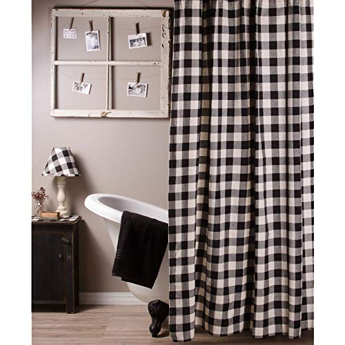 Home Collections by Raghu 72x72 Buffalo Check Black-Buttermilk Shower Curtain (Black Curtains Ticking)