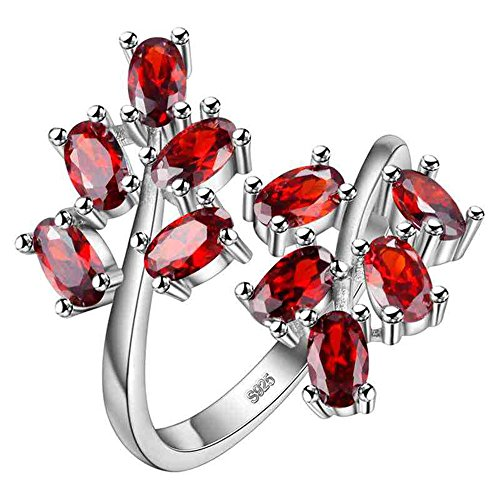 (Uloveido Oval Cut Red Cubic Zirconia Tree Leaf Adjustable Wide Cocktail Ring for Women, Birth-Stone Ring, Fashion Engagement Wedding Promise Ring for Women Girls J681-Red)