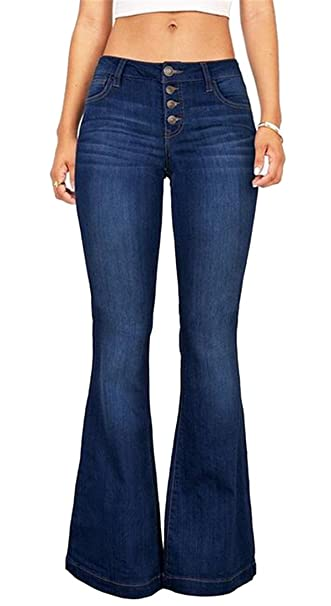 quite nice low cost best service Fensajomon Womens Skinny Low Rise Slim Casual Washed Bell ...