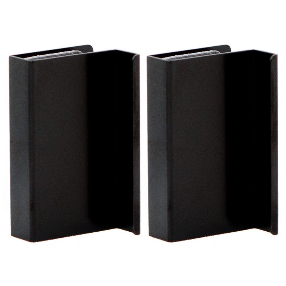 2 x Metal Black Glass Door Handles Finger Pulls Orimiu
