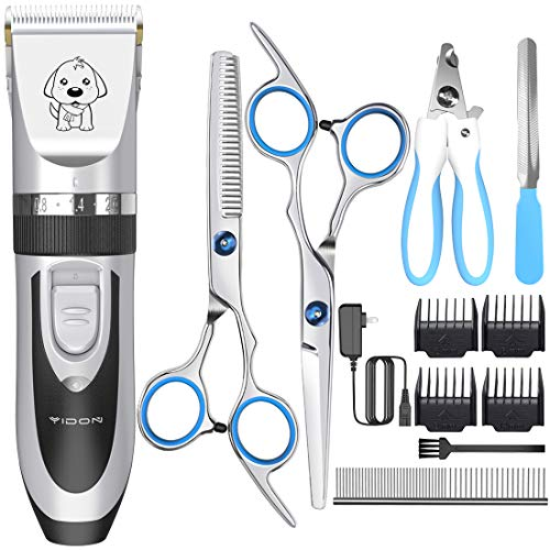 Dog Clippers,YiDon Cordless adjustable Pet Clippers Dog Hair Trimmer Rechargeable Cat Shaver Pet Grooming Professional Low Noise Dog Grooming kit with 8 kinds tools for Thick Coats,Small Dog,all pets
