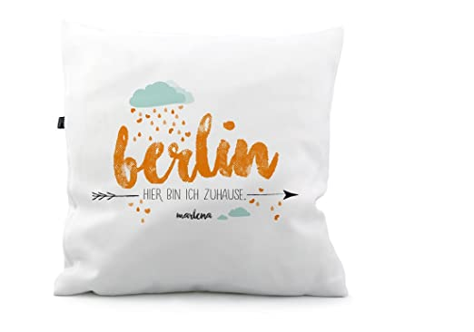 Cojín Berlin Ciudad Patria Nombre KS232, poliéster, naranja ...