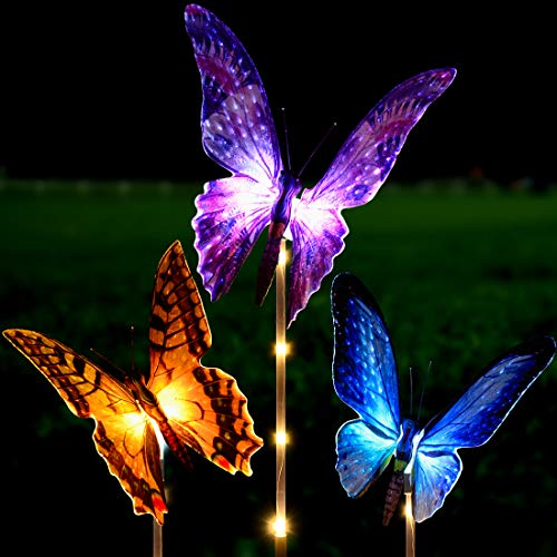 Solar Garden Lights Outdoor - Kearui 3 Pack Solar Stake Light with Fiber Optic Butterfly Decorative Lights, Multi-Color Changing LED Solar Lights for Garden Decorations, Garden Gifts (Lights Led Garden Solar Blue)