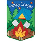 """Cheap """" Happy Camper """" – Applique Decorative Flag, Garden Size 12 Inch x 18 Inch Copyright ,Trademark and License by Custom Decor Inc."""