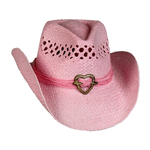 Saddleback Hats Pink Vented Straw Cowboy Hat w/Wood Heart Band Shapeable Beach Cowgirl ()