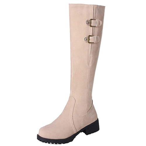 MisaKinsa Mujer Tacón Bajo Vestido Botas Largas Cremallera: Amazon.es: Zapatos y complementos