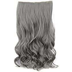 """SWACC 20"""" Women 3/4 Full Head Instant One Piece Curly Body Wave Heat Resistance Synthetic Clip in Hair Extension (Grey)"""
