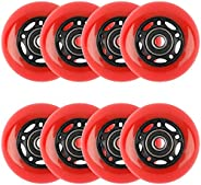 Yaegoo 64mm 8 Pack Inline Skate Wheels 85A, Inline Roller Skates Replacement Wheels with Pre-Installed Bearing