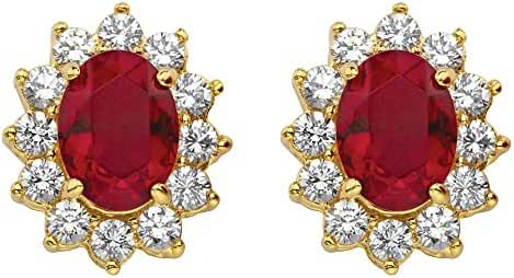 Red Simulated Crystal Swarovski Elements and White CZ 14k Gold-Plated Halo Stud Earrings