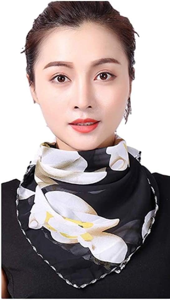 Face Masck Cool Chiffon Breathable Women Dustproof Neck Scarf with Ear Rope Printed Shield Washable Face M/ásk UV Protection Cover Neck Gaiter