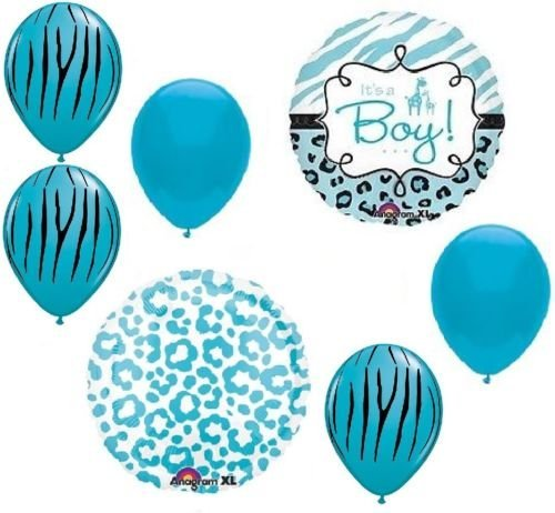 LoonBalloon It's a Boy Baby Shower Blue Safari Giraffe Cheetah Print 7 Pc Party Balloons Set]()