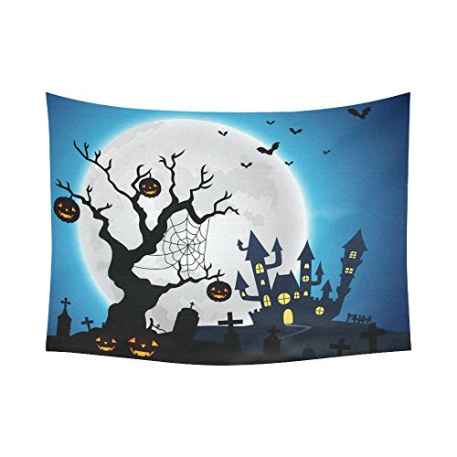 Interestprint Halloween Pumpkin Jack O Lantern Spooky Tree Tapestry Horizontal Wall Hanging Haunted House Castle Full Moon Moonlight Wall Decor Art for Bedroom Cotton Decoration 80 X 60 (Wall Coverings For Halloween)