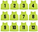Oso Athletics Set of 12 Premium Mesh Numbered Scrimmage Vest Pinnies Team Practice Jerseys for Children, Youth, and Adult Sports Basketball, Soccer, Football, Volleyball, Lacrosse (Green, Adult)
