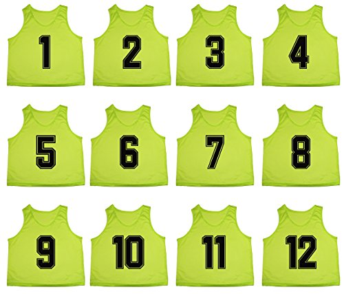 Oso Athletics Set of 12 Premium Mesh Numbered Scrimmage Vest Pinnies Team Practice Jerseys for Children, Youth, and Adult Sports Basketball, Soccer, Football, Lacrosse (Neon Green (#1-12), (Team Apparel Athletic Jersey)