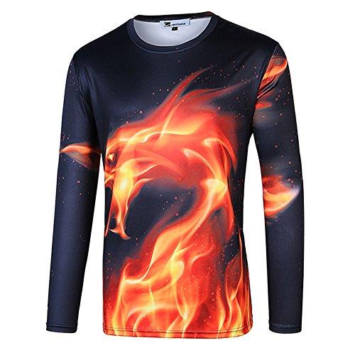 (cornflower Men's 3D Printed Long Sleeves T-Shirt Casual Tee Fire Dragon XXL)