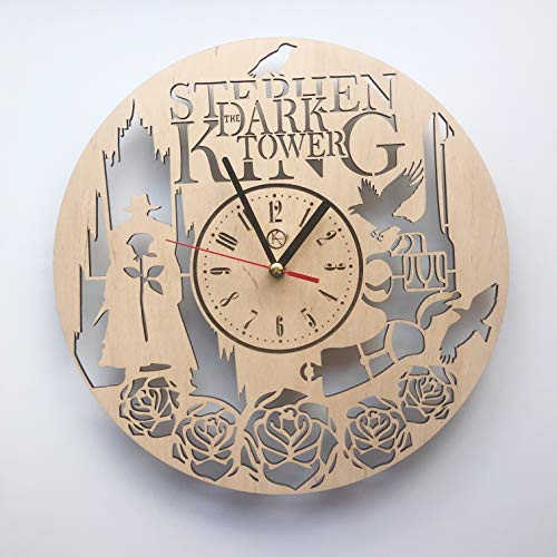 7ArtsStudio Dark Tower Stephen King Wall Clock Made of Wood – Perfect and Beautifully Cut – Decorate Your Home with Modern Art – Unique Gift for Him and Her – Size 12 Inches