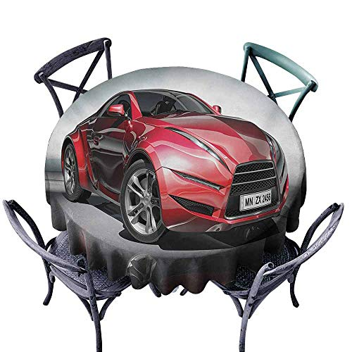 VIVIDX Round Outdoor Tablecloth,Cars,Modern Era Sports Car Designed for Spirited Performance and Fast Speed Racing Print,Party Decorations Table Cover Cloth,35 INCH,Silver Red -