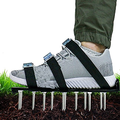 1 Pair Garden Lawn Aerator Shoes, Yard Heavy Duty Spike Lawn Aerating Soil Sandals for Yard-Universal Size, 3 Adjustable Straps, 26 Nails by Aquarius CiCi