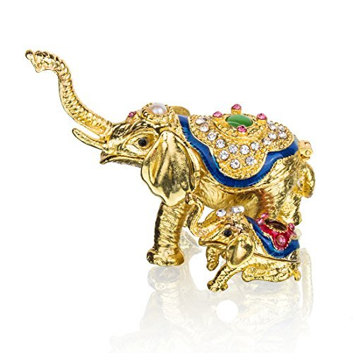 YUFENG Mini Figurine Trinket Boxes Ornament Crystals,Hand-Painted Patterns Jewelry Trinket Box Hinged Collectible Ring Display Holders for Women or Girl (Elephant Trinket Box)